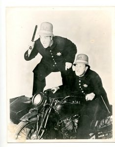 Abbott and Costello Meet the Keystone Kops - publicity photo of a chase on motorcycle