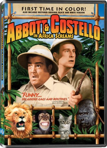 """Abbott and Costello in Africa Screams - first time in color - also includes restored original black and white version - """"funny ... hilarious gags and routines"""""""