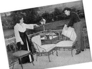 Betty and Bud Abbott arranging furniture