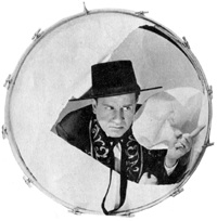 Bud Abbott - breaking through a drum in Rio Rita