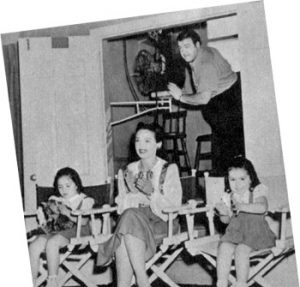 Lou Costello gives a preview for his favorite fans – his pretty wife and their two daughters, Patricia and Carole Lou