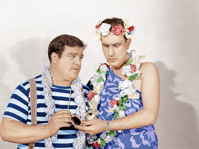 Pardon My Sarong color photo - Lou Costello, Bud Abbott