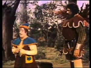 Lou Costello and Buddy Baer as the giant in Jack and the Beanstalk