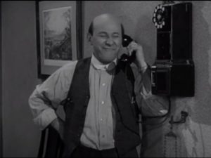Sid Fields on the phone in Barber Lou, The Abbott and Costello Show season 2