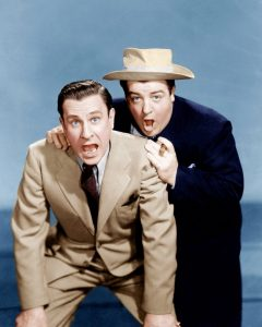 """Publicity photo of Bud Abbott and Lou Costello in """"Who Done It?"""""""