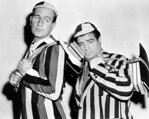 "Bud Abbott and Lou Costello in a publicity photo for ""Here Come the Co-Eds"""