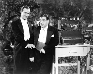 """Bud Abbott and Lou Costello in tuxedos in the (tacked on) ending of """"Hold That Ghost"""""""