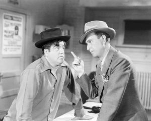 "Lou Costello and Bud Abbott in ""Here Come the Co-Eds"""