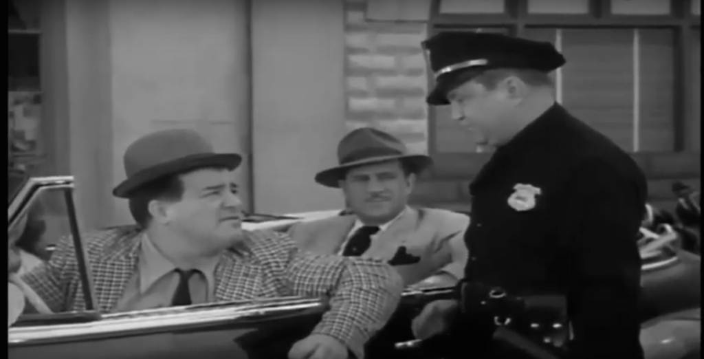 Lou Costello and Bud Abbott pulled over by a traffic cop in Barberr Lou