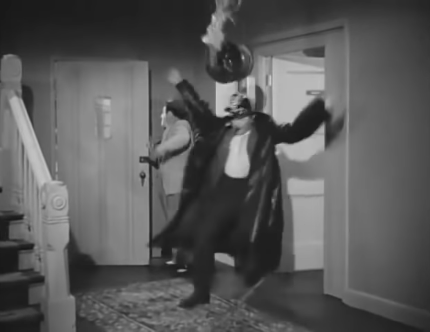 Sid Fields slips as he's trying to put out that fire in Stinky's room