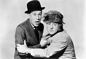 """Bud Abbott and Lou Costello in a publicity photo from """"Comin' Round the Mountain"""""""