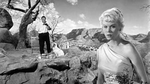 Artie Pinsetter (Lou Costello) and Emmy Lou (Dorothy Provine) in The Thirty Foot Bride of Candy Rock